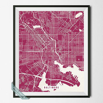Baltimore Map Print, Maryland Poster, Baltimore Street Map, Maryland Print, MD, Harbor City, Home Decor, Wall Art, Back To School
