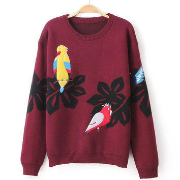 School Fashion Embroidered Birds Cardigan Sweater Coat