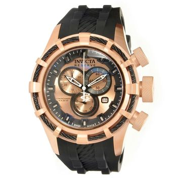 Invicta 15778 Men's Bolt Reserve Sport Rose Gold Dial Black Rubber Strap Chronograph Dive Watch