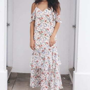 Happy Hour Cream Floral Print Dress