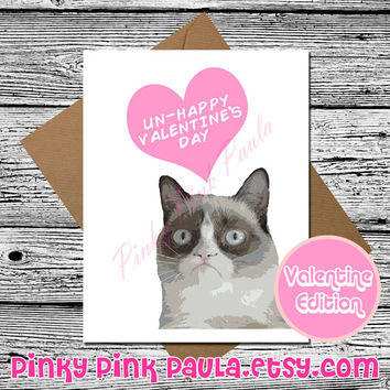 Grumpy Cat Card (Funny Valentine Card. Valentine Card Her. Valentines Day Card. Love Card For Him. Grumpy Cat. Greetings Card. Cat Card)
