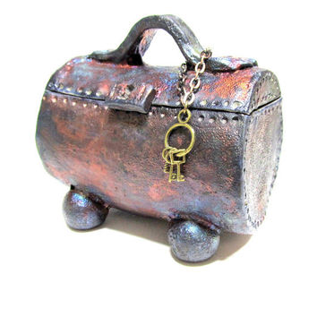Raku Treasure Chest Jewelry Box Ceramics and Pottery Jewelry Box, Copper Metallic Lidded Box for Treasures - Tiny Key Set and Chain