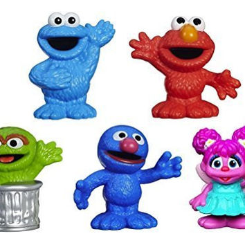 Sesame Street Friends Grover, Elmo, Cookie Monster, Oscar the Grouch, & Abby Cadabby Figures 2 1/2""