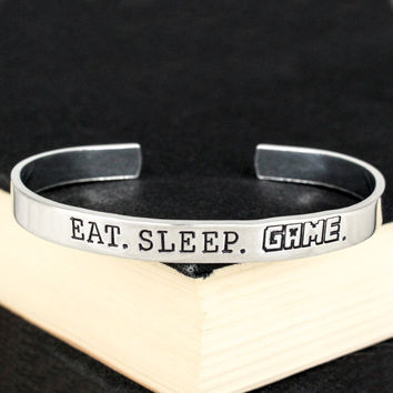 Eat. Sleep. Game. - Pixel Games - Video Games - Aluminum Bracelet