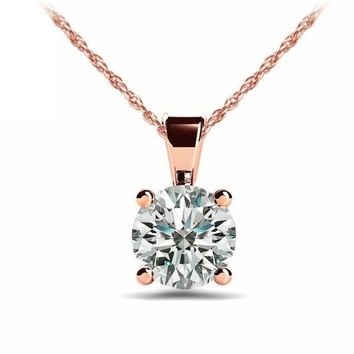 A Perfect 14K Rose Gold 1CT Round Cut Russian Lab Diamond Solitaire Pendant Necklace