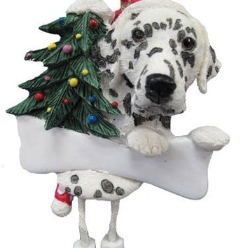 "Dalmatian Ornament with Unique ""Dangling Legs"" Hand Painted and Easily Personalized Christmas Ornament"