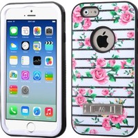 "MEGATRONIC Pink Fresh Roses/Black Dual Layer Hybrid Hard Skin Protector With Metal Stand Case cover Skin for APPLE Iphone 6 4.7 4.7"" 6th Generation W/ Free Stylus"