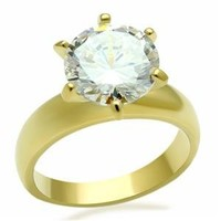 Gold Tone 3.5 Carat 6 Prong Solitaire CZ Engagement Ring