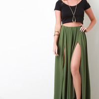 Chiffon Double Slit Maxi Skirt
