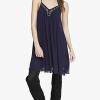 BEADED V-NECK TRAPEZE DRESS - PLUM from EXPRESS