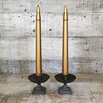 Taper Oil Candles Oil Lamp Starlight Everlasting Taper Candles Oil Lamp Pair of Mid Century Oil Lamps Hollywood Regency Brass Candle Holders