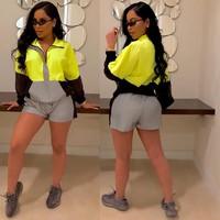 Women Casual Two Piece Reflective Tracksuit Crop Jacket Short Set