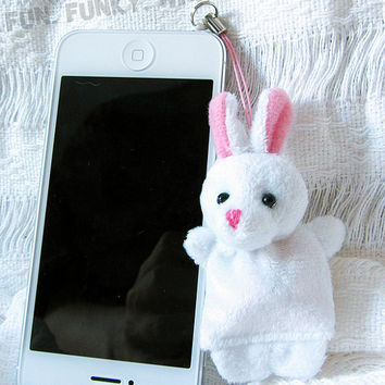 CLEARANCE SALE White Rabbit Cell Iphone Anti Dust Plug Handmade Easter Bunny Plush Charm Jewelry