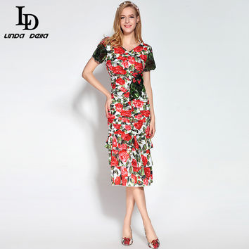New 2017 Fashion Runway Dress Women's V-Neck Crystal Button Sequins Tiered Red Rose Floral Print Sexy Bodycon Sheath Dress