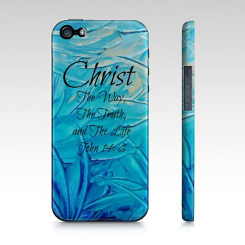 CHRIST The Way The Truth and The Life- iPhone 4 4s 5 5s 5c 6 Hard Case Turquoise Blue Purple Pink Green Abstract Scripture Bible Verse