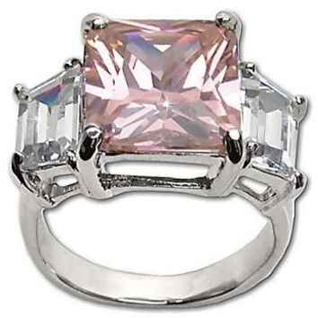 Sterling Silver Emerald Cut and Baguette CZ  Rings Pink