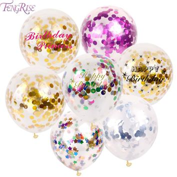 FENGRISE 10pc 12inch 30cm Clear Confetti Balloon Latex Confetti Ballon Wedding Decoration Happy Birthday Balloons Party Supplies