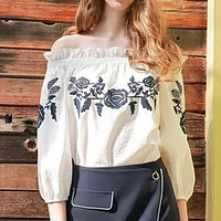 Fashion  Off Shoulder Middle Sleeve Retro Embroidery Flower Shirt Tops