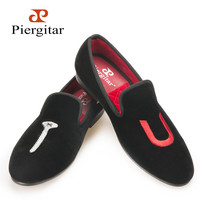 New men handmade shoes letter embroidery smoking slippers Party and wedding men loafers plues size male flats