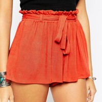 ASOS PETITE Woven Shorts with Paperbag Tie Waist