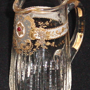 910247 Mini Crystal Pitcher With Long Thin Cuts On Lower Part, Fancy Gold Around & Pattern In Front, Gold Rim
