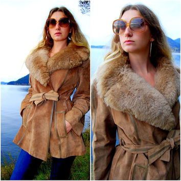 60s 70s Vintage AVANTI LEATHER Brown Faux Fur Coat - Hippie Boho Mod Tan Fur And Suede Leather Jacket - Medium - Large Foxy Wrap Coat