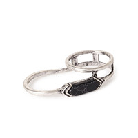 Faux Stone Linear Two-Finger Ring