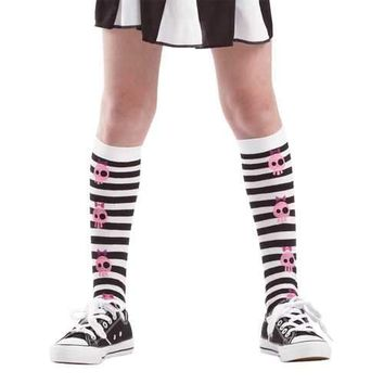 Striped Skull Knee High Costume Tights, M