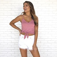 Knot A Care Tank Top in Mauve