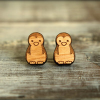 Penguin Studs, Laser Cut Wood Earrings