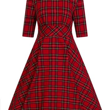 Hell Bunny Irvine Red Stewart Tartan Check Retro Vintage Party Dress