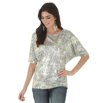 Wrangler Womens Gold Silver Dolman Short Sleeve Printed Top