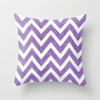 purple chevron Throw Pillow by her art