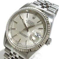 Auth ROLEX Datejust 16234 Silver 18K White Gold P956335 Unisex Wrist Watch