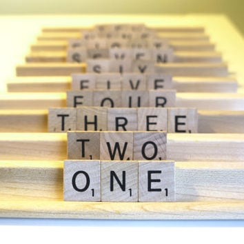 SCRABBLE® TABLE NUMBERS - Choose a Language & Quantity - Higher Numbers Available - Weddings, Showers, Banquets, Table Decorations