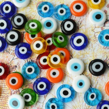 Turkish Evil Eye Flat Round 12 mm Mixed Color Glass Beads Set of 24 Pieces Multicoloured Nazar Evil Eye Colourful  Yellow Blue Turquaz