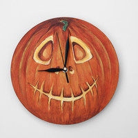 HALLOWEEN Pumpkin WALL CLOCK handmade toddler room decor home decor