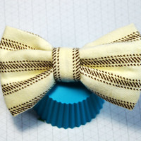 Tan and Brown Hair Bow, Striped Hair Bow, Big Hair Bow, Large Hair Bow, Cute Hairbow, Hair Accessory, Fabric Hair Bow, Alligator Clip Bow
