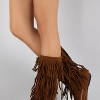 Suede Triple Fringe Round Toe Moccasin Mid Calf Flat Boot
