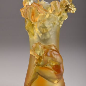 Orange & Yellow Crystal Flower Vase With Man Decoration  Clear and Stained Hand-Crafted Quality Glass