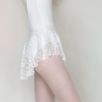 Lace Ballet Skirt- SAB Skirt - Stretch Lace Classic White - Dance skirt- Royall Dancewear- audition- summer intensive