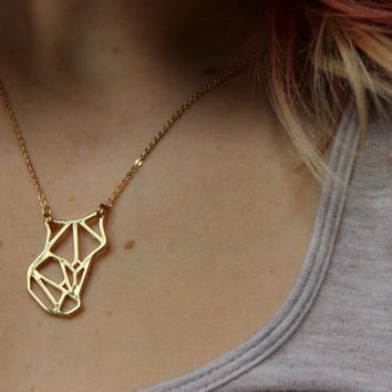 14k Gold Fox Necklace, 14k Gold Necklace, Animal Geometric Necklace, Geometric Jewelry, Gold Fox Jewelry, Autumn Fall Jewelry, Boho Chic