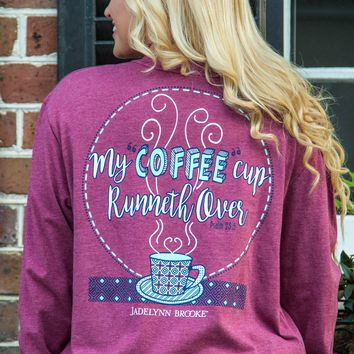 Jadelynn Brooke: My Coffee Cup Runneth Over L/S V-Neck {Heather Maroon}
