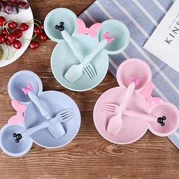 Wheat Fiber Cartoon Mouse Bowl Lovely Colorful Kids Cutlery Environmental Dinnerware Children Plates Christmas Gift Lunch Box