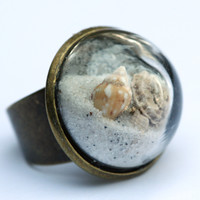 Large beach glass dome ring
