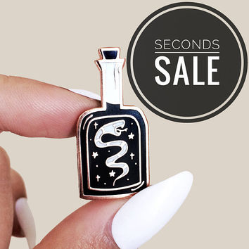 "SECONDS SALE Snake Oil Bottle Hard Enamel Pin with Copper Finishing, Originally Illustrated and Designed 1.25"" Star Animal Lapel Pin"