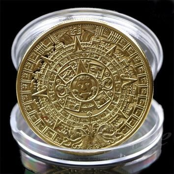 1 x Aztec Mayan Calendar Souvenir Gold Plated Commemorative Coin Collection Gift HXP001