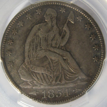 PCGS Silver Coin, 1854 Silver COIN, Sitting Liberty, Silver Half Dollar Coin,Collectible 50 Cent Silver Coin, Liberty Half, Silver Half,COIN