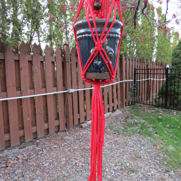 "Macrame Plant Hanger, 42"", Red, Wall Hanging, 4mm cord, 3 Wood Beads, Unique, Hippy, Hippie, Tribal, Retro, 70s, Garden Decor, Home Decor"