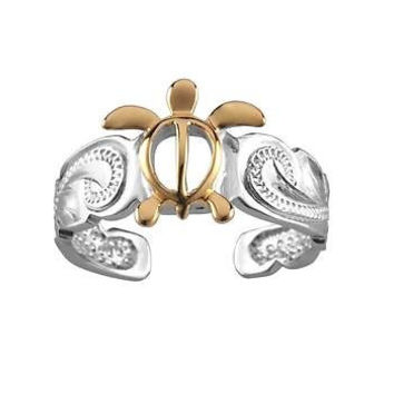 SILVER 925 HAWAIIAN YELLOW GOLD HONU SEA TURTLE SCROLL TOE RING CUT OUT RHODIUM